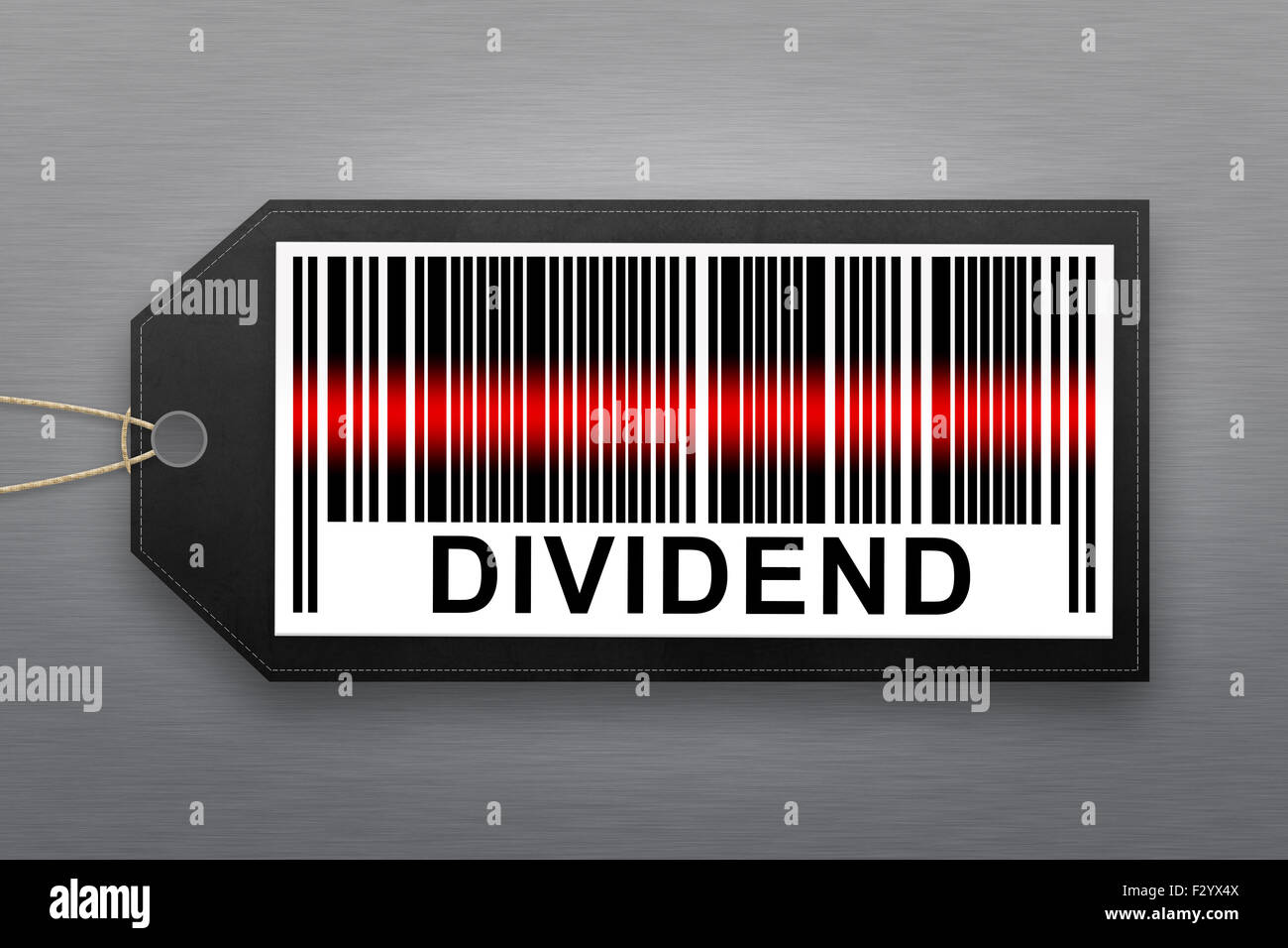 dividend barcode with stainless steel background - Stock Image