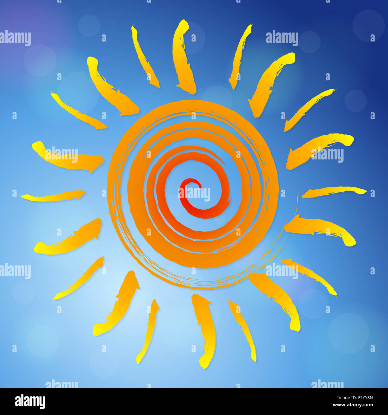 Abstract sun on a blue sky. Vector illustration. - Stock Image