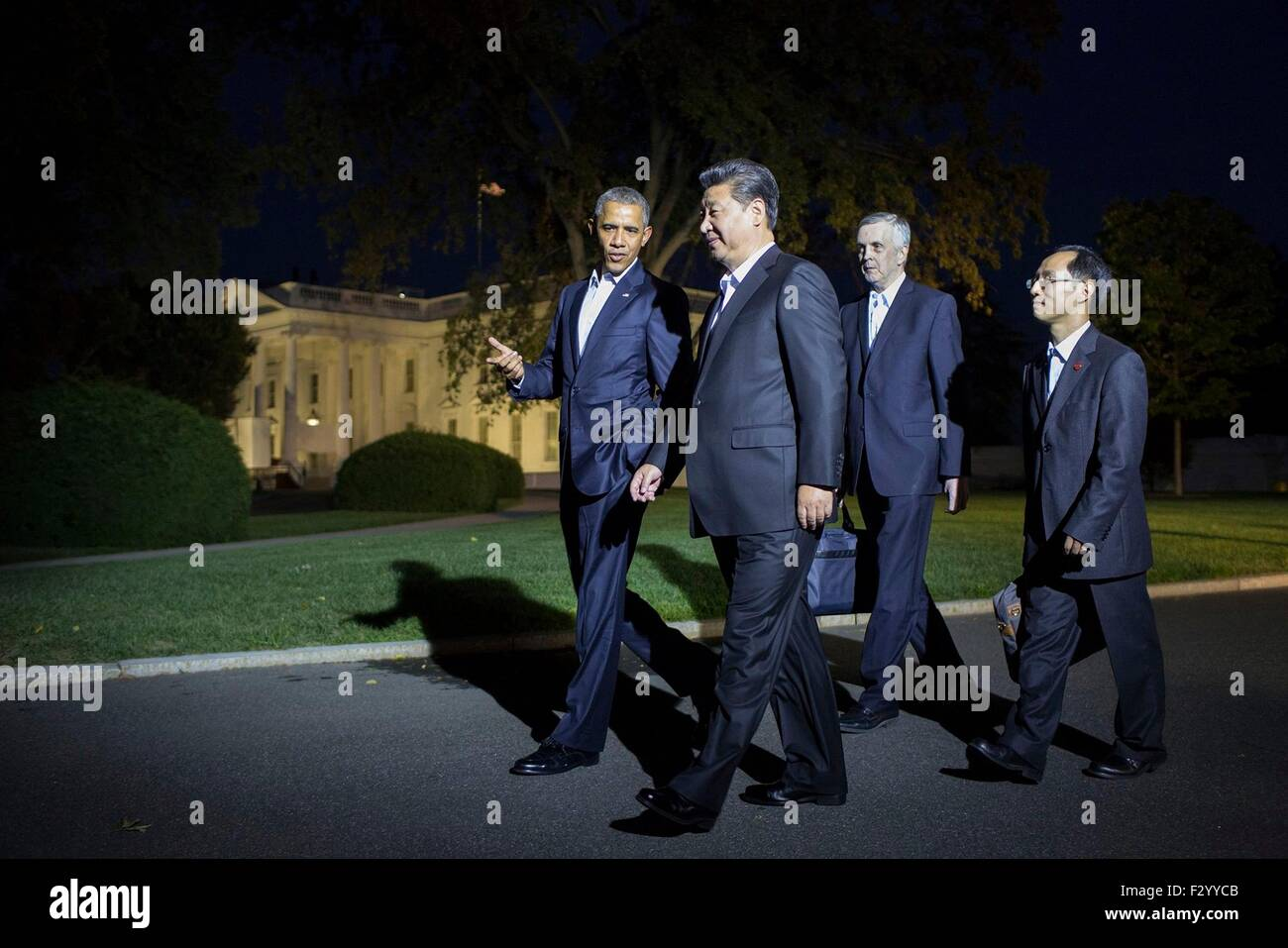 Washington DC, USA. 25th Sep, 2015. U.S. President Barack Obama has a private walk with Chinese President Xi Jinping - Stock Image
