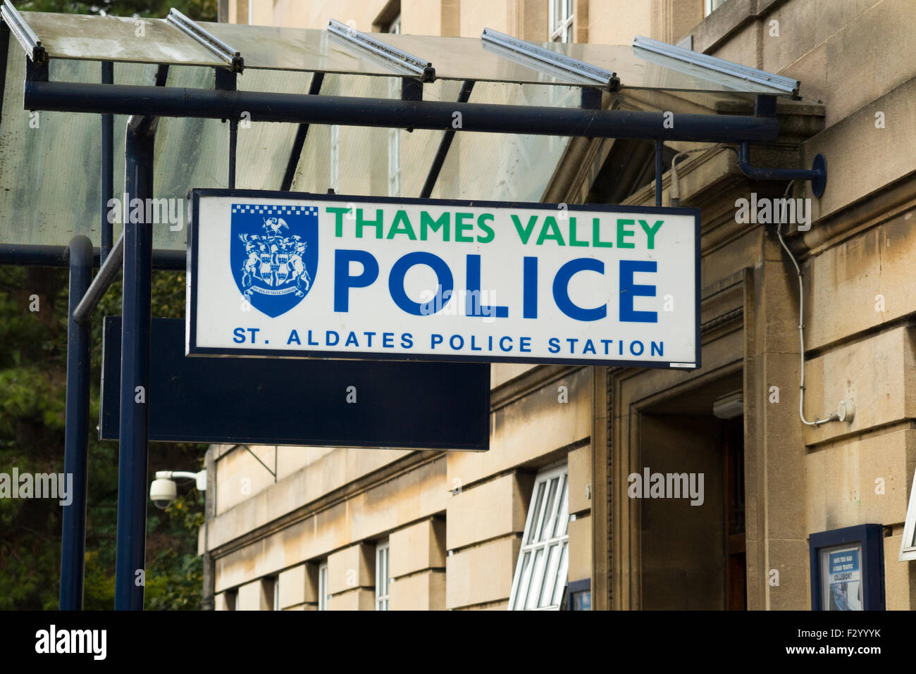 Thames Valley Police station sign / signs in Oxford. UK - Stock Image