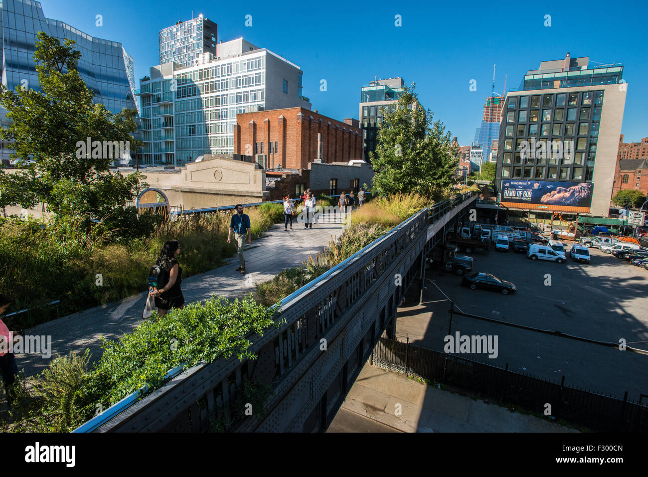 The urban elevated linear public park known as the High Line built on a disused elevated railway line September - Stock Image