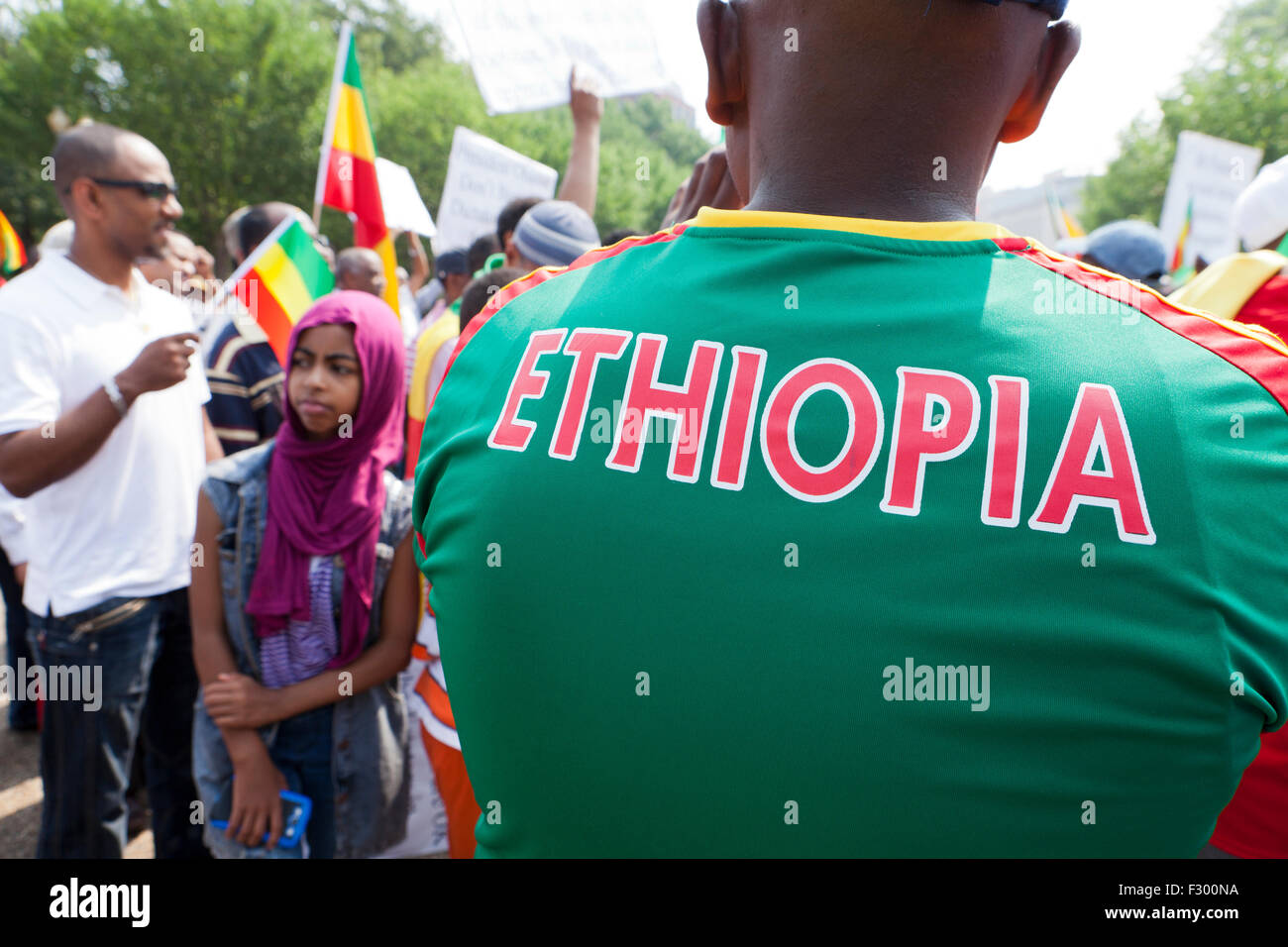 Man wearing Ethiopia soccer jersey  - USA - Stock Image