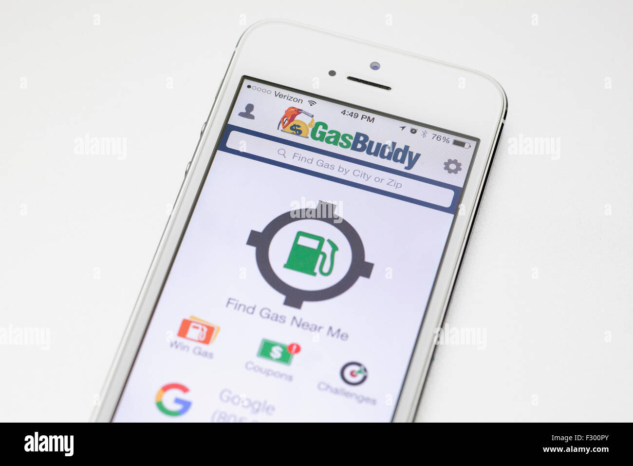 Gas Buddy app on iPhone screen - USA - Stock Image