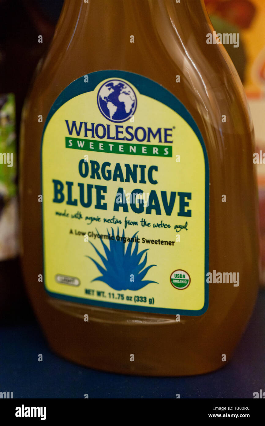 Wholesome Organic Blue Agave bottle - USA - Stock Image