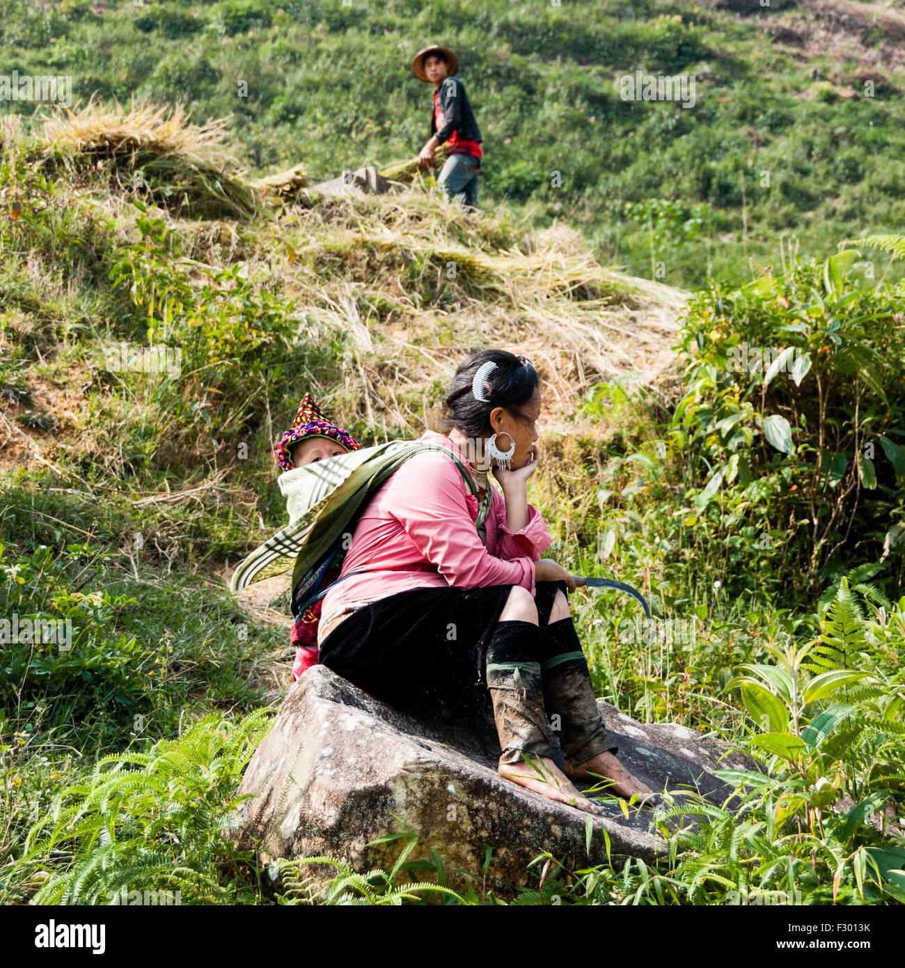 People working around Sapa area, Vietnam - Stock Image