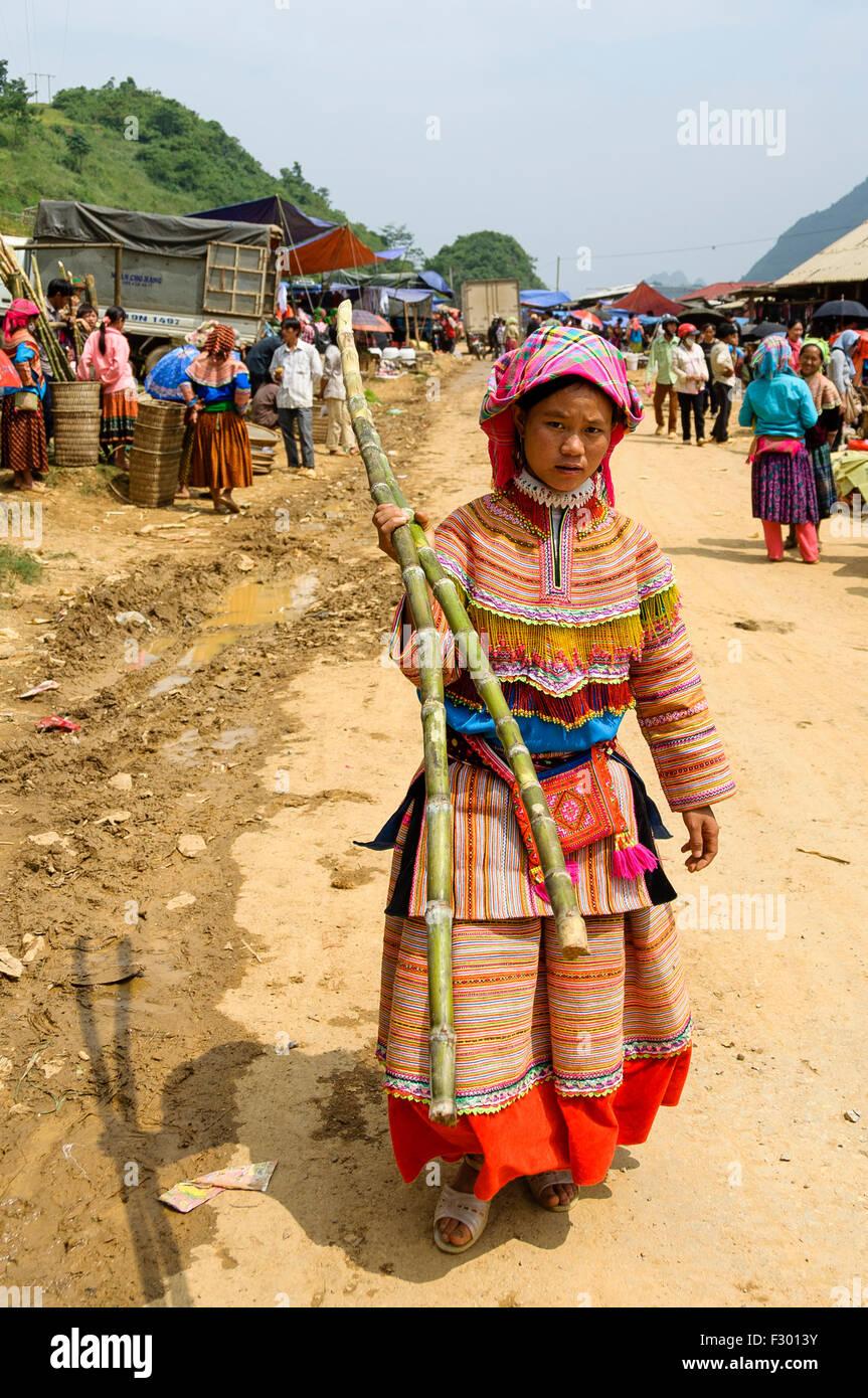 Woman at the market Sapa, Vietnam - Stock Image