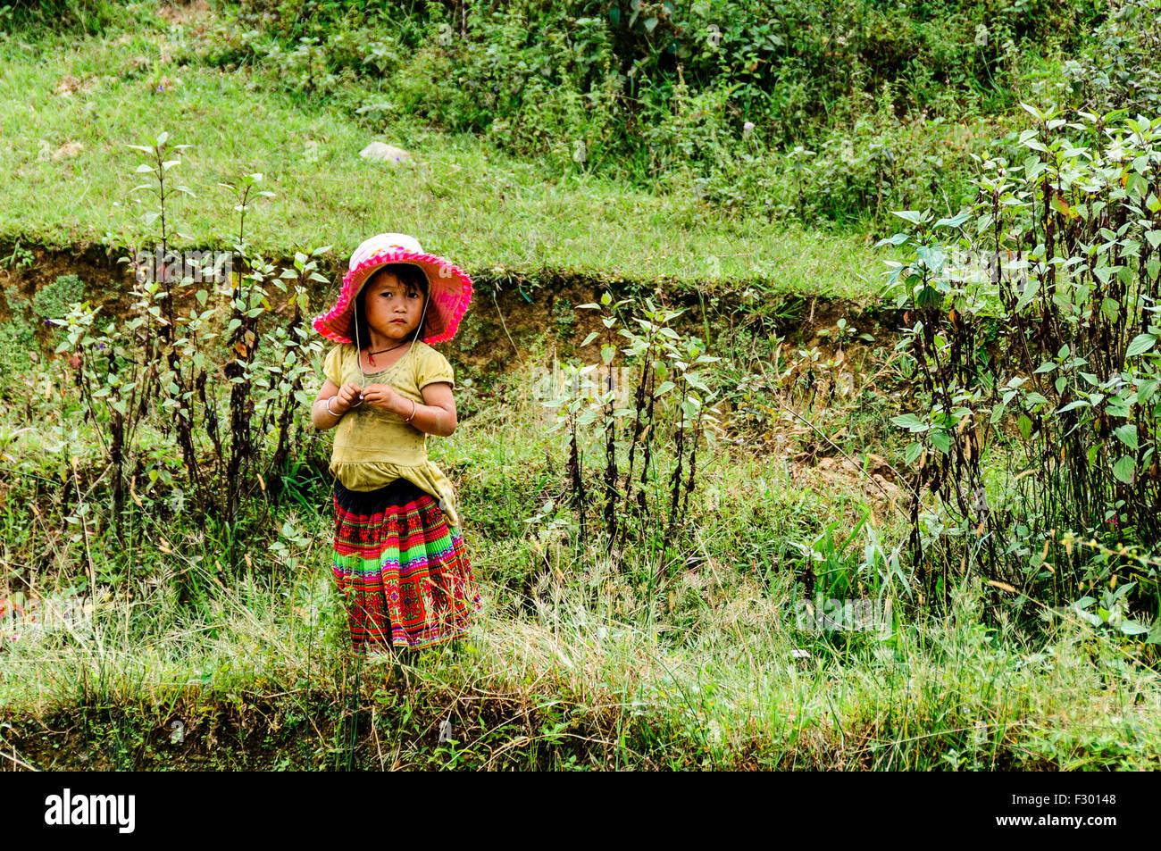 Kid around Sapa area, Vietnam - Stock Image