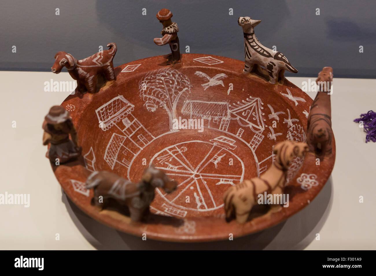 Quechua ceramic bowl, circa 1971, Peru - Stock Image
