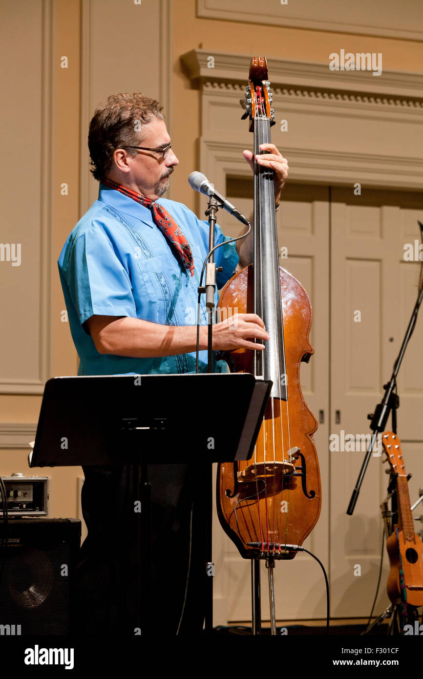 Man playing electric upright Bass instrument on stage - USA - Stock Image