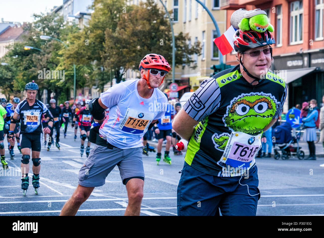 Berlin, Germany, 26th September 2015. 2015 BMW Berlin-Marathon. Inline Skaters and Roller Bladers took to the streets - Stock Image