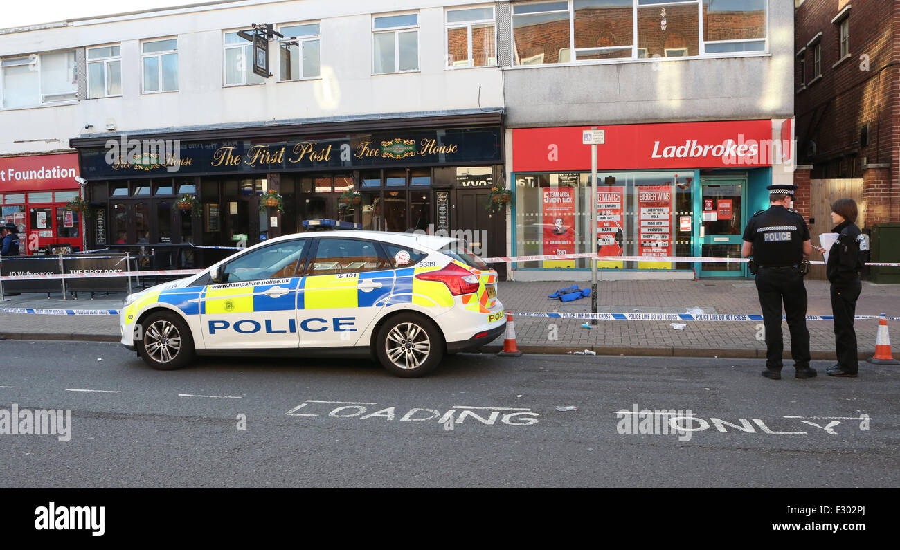 Cosham, Hampshire, Saturday 26th September 2015 GV of a crime scene in the Hight Street a man was been attacked. Stock Photo