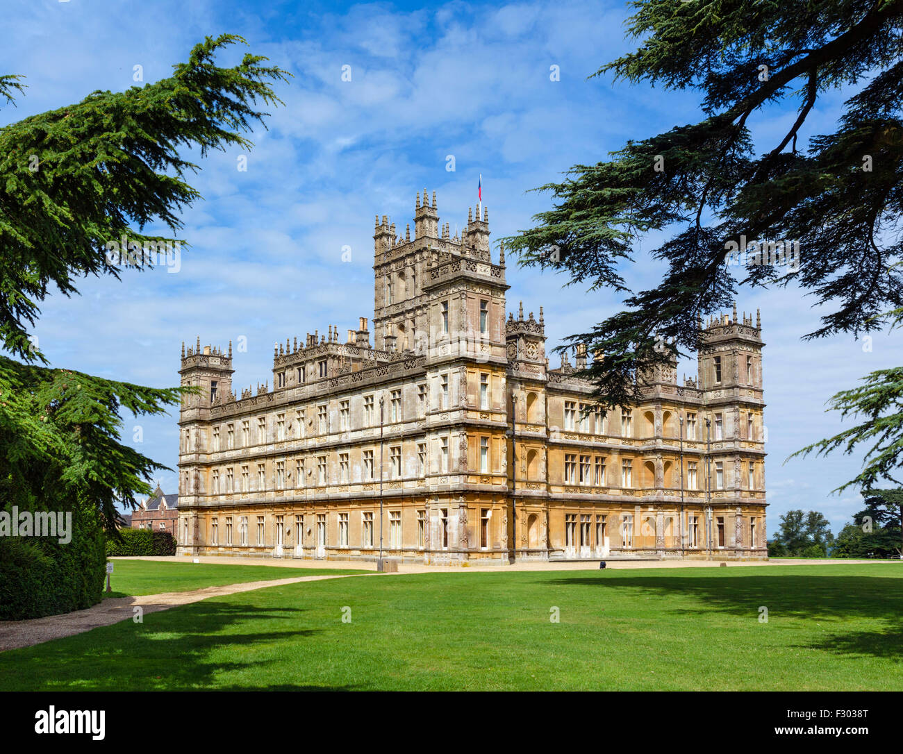 Highclere Castle, Downton Abbey in the TV series of the same name, Hampshire, England, UK - Stock Image