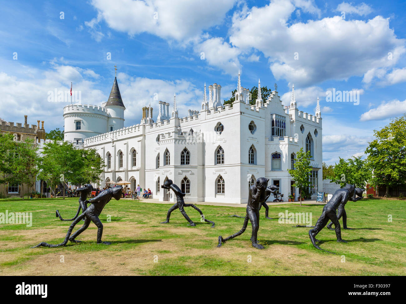 Strawberry Hill House, with Laura Ford sculptures in foreground (temporary exhibition till 31/10/15), Twickenham, - Stock Image