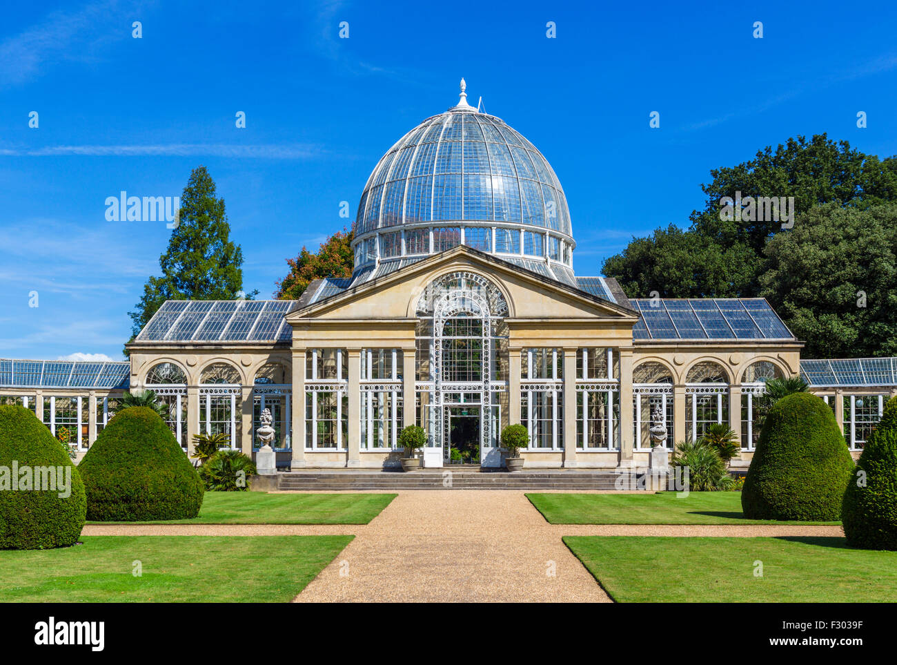 The Great Conservatory in the gardens of Syon House, Syon Park, West London, England, UK - Stock Image