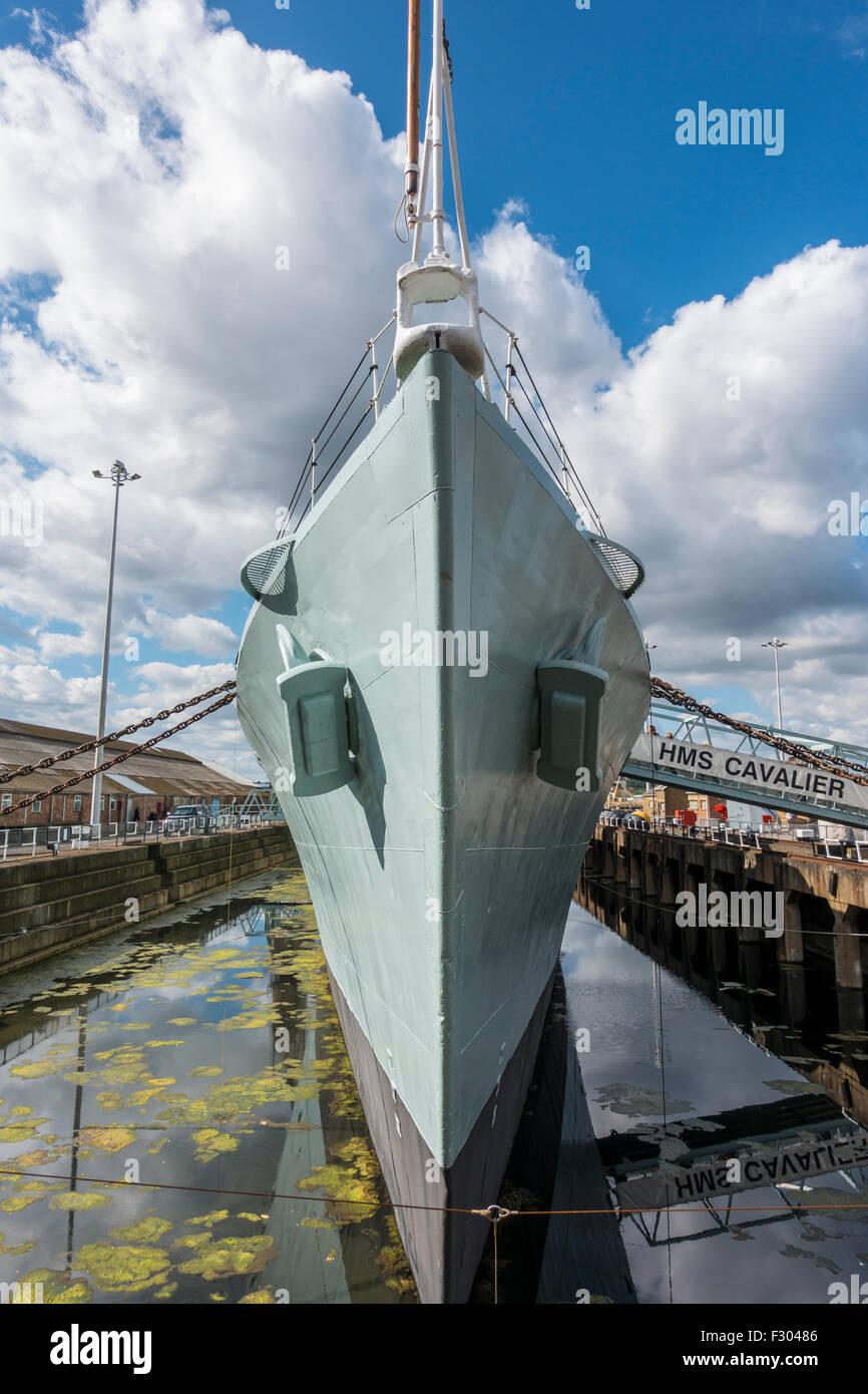 HMS Cavalier Chatham Historic Dockyard Kent  - Warship Destroyer - Stock Image