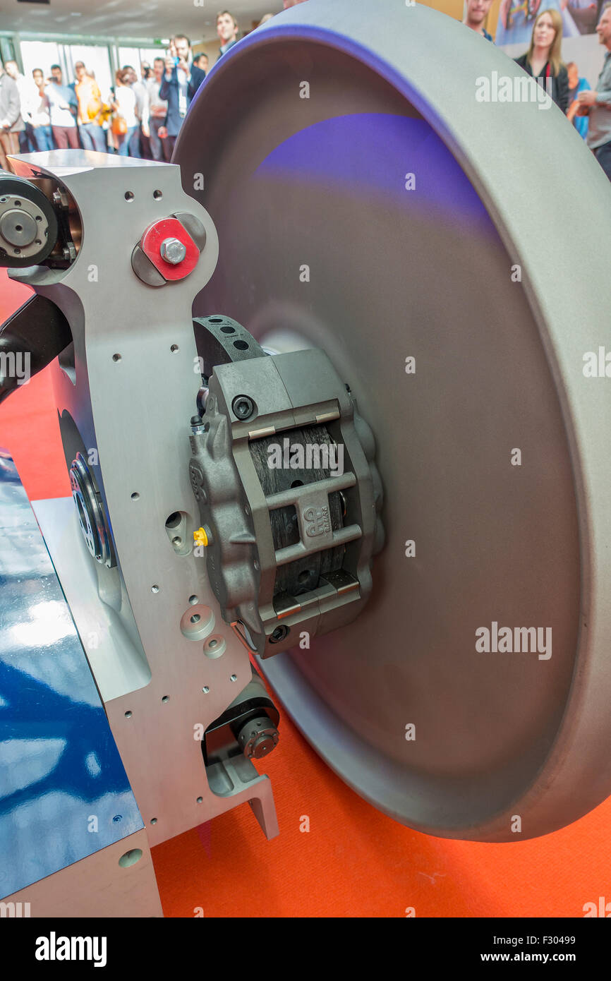 Rear Suspension Brake Caliper Bloodhound SSC on Display Canary Wharf London September 25th 2015 - Stock Image