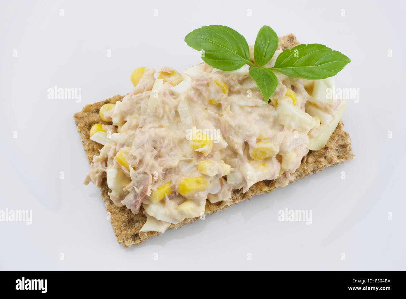 Multigrain crisp bread and tuna salad Stock Photo