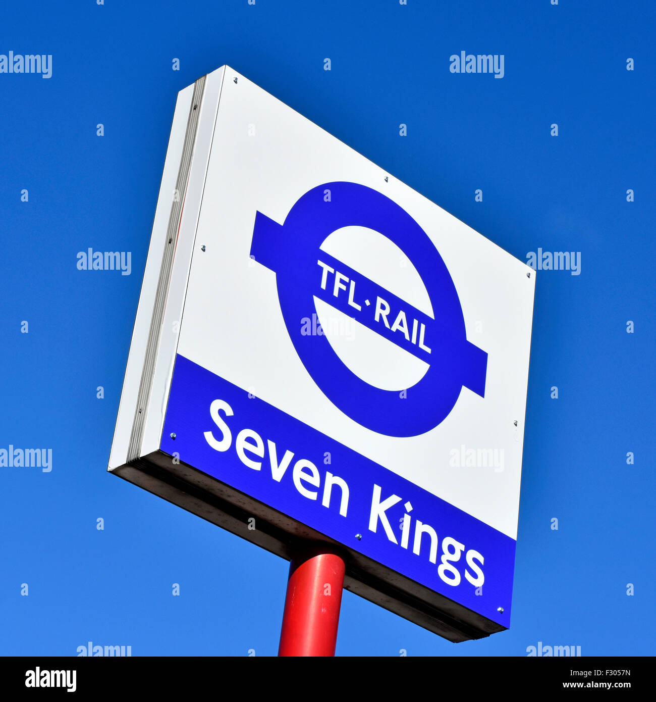 Severn Kings East London suburban station & new TFL signs take over Metro commuter trains to Liverpool Street - Stock Image