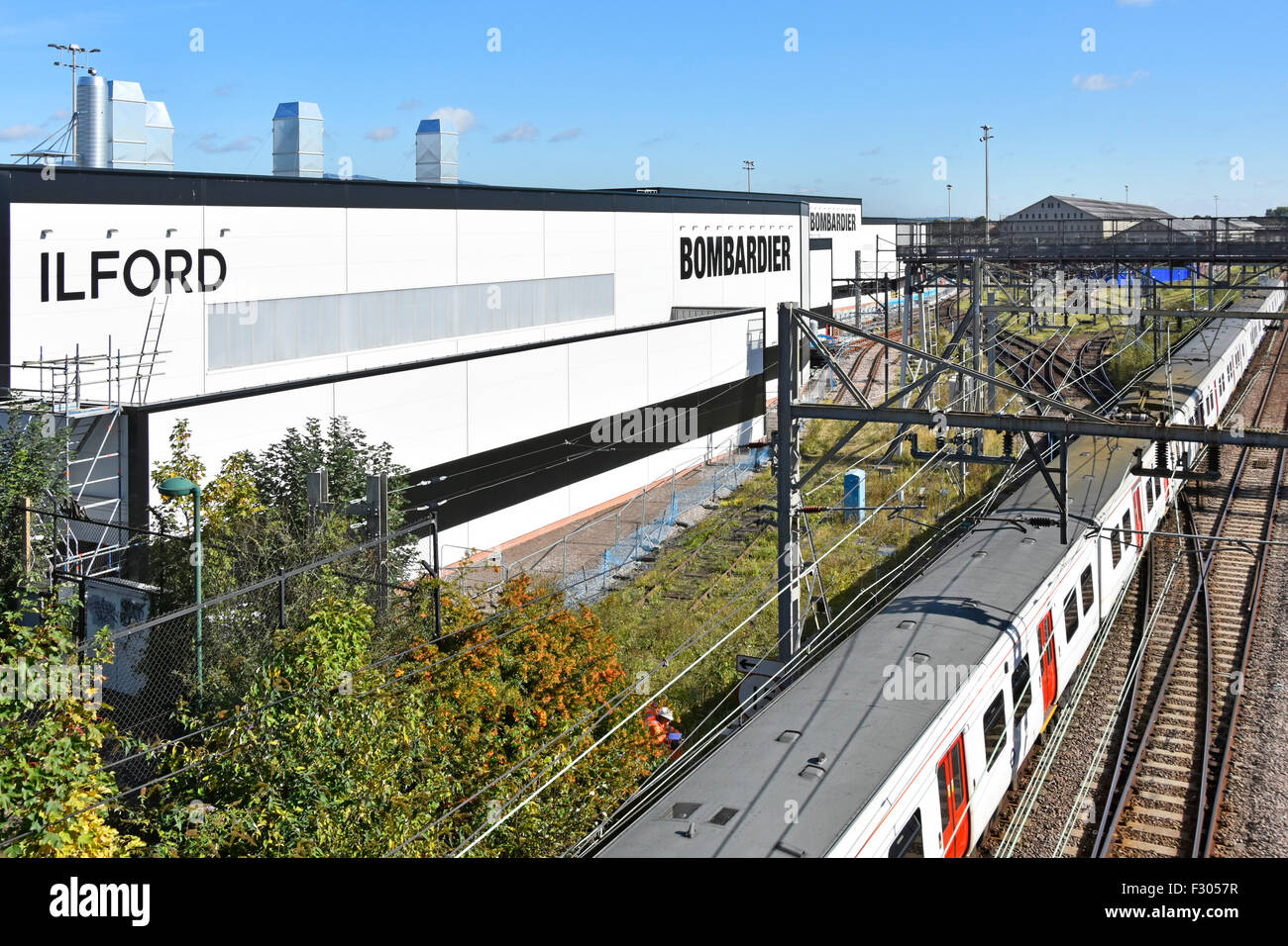 Crossrail rolling stock Ilford depot Elizabeth Line new train maintenance sheds at the Bombardier Transportation - Stock Image