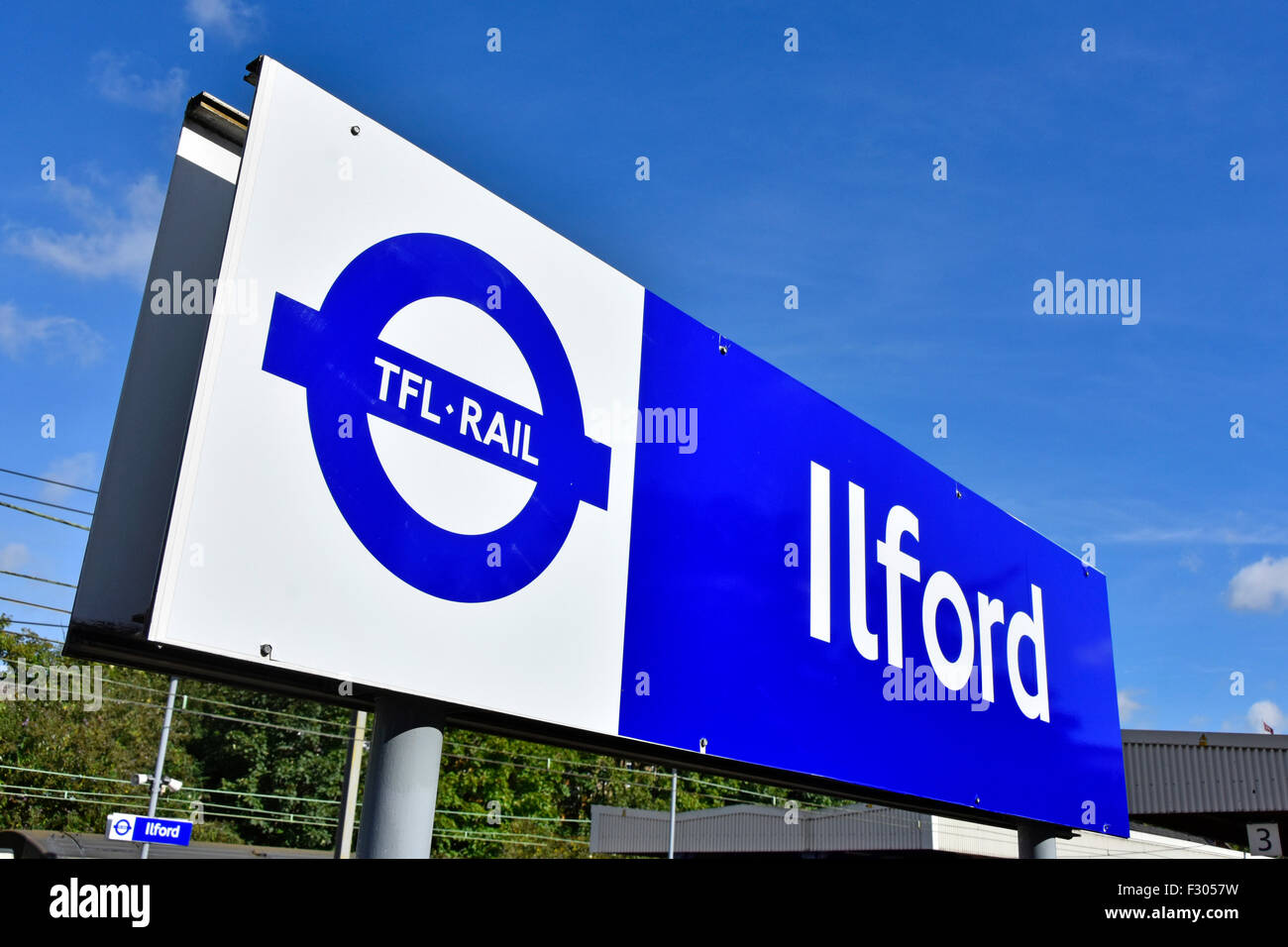New 2015 London suburban station blue signage by TFL prior to changes to the Elizabeth Line when crossrail begins - Stock Image
