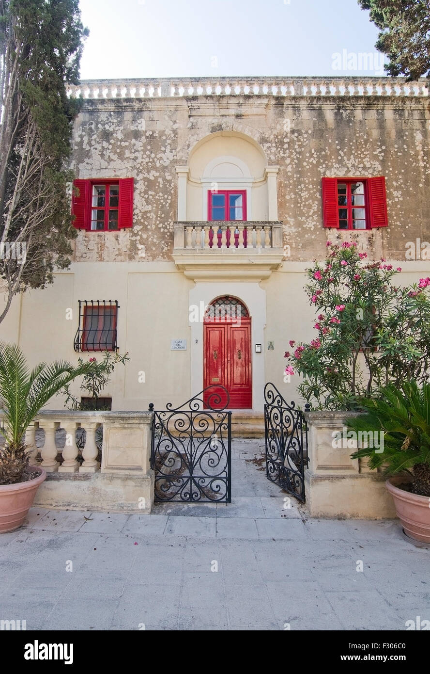 Beautiful Residential Building Inside Mdina Wall With Red Doors
