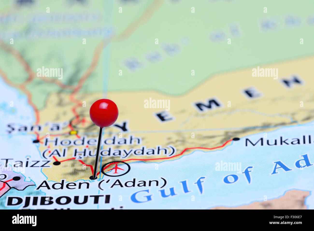Aden pinned on a map of Asia - Stock Image