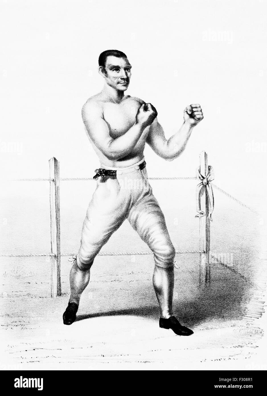 Vintage portrait print of bare-knuckle boxer Yankee Sullivan (c1811 - 1856) - self-proclaimed heavyweight Champion - Stock Image