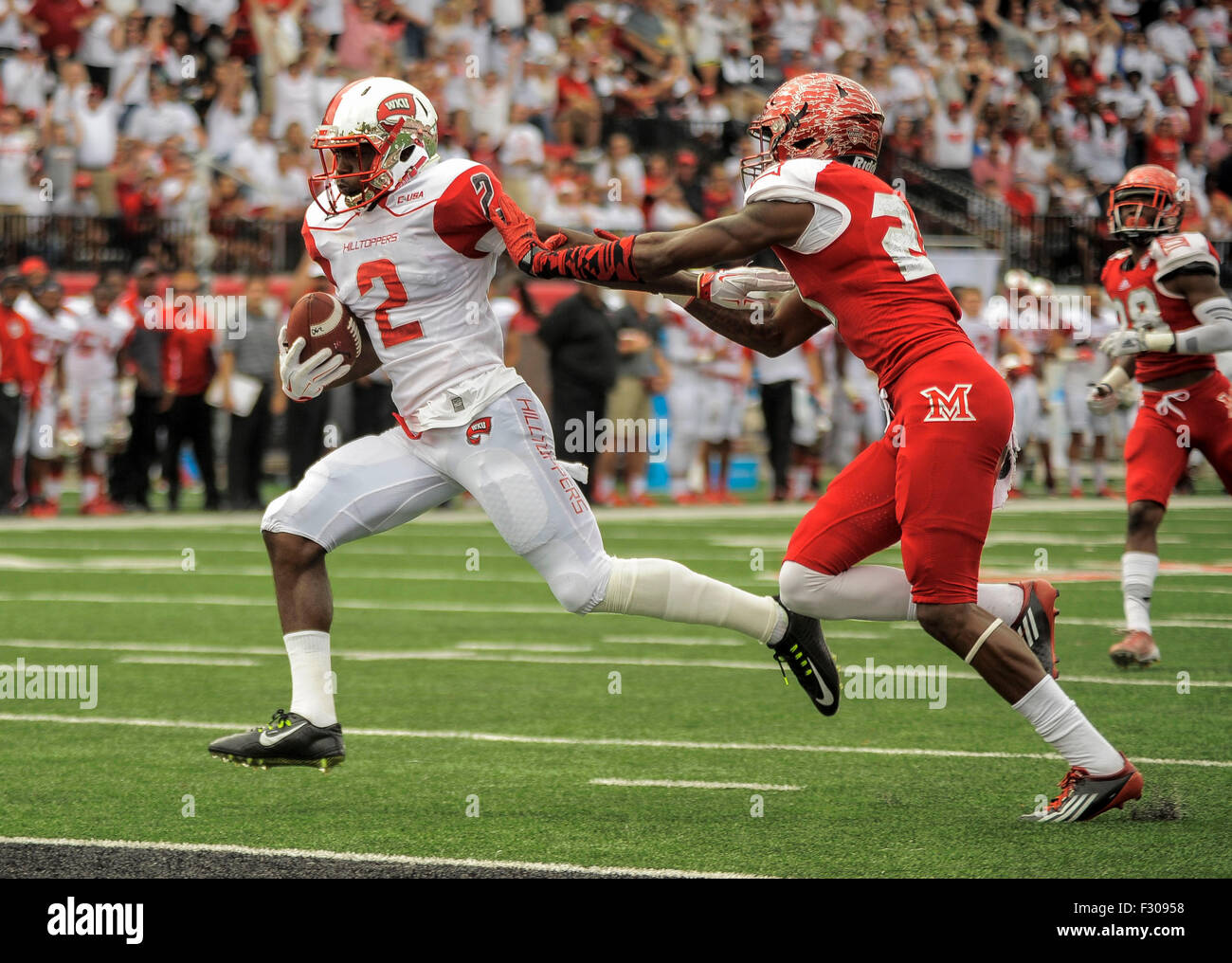 September 26, 2015 Western Kentucky Hilltoppers wide receiver Taywan Taylor (2) pulls away from Miami (Oh) Redhawks - Stock Image