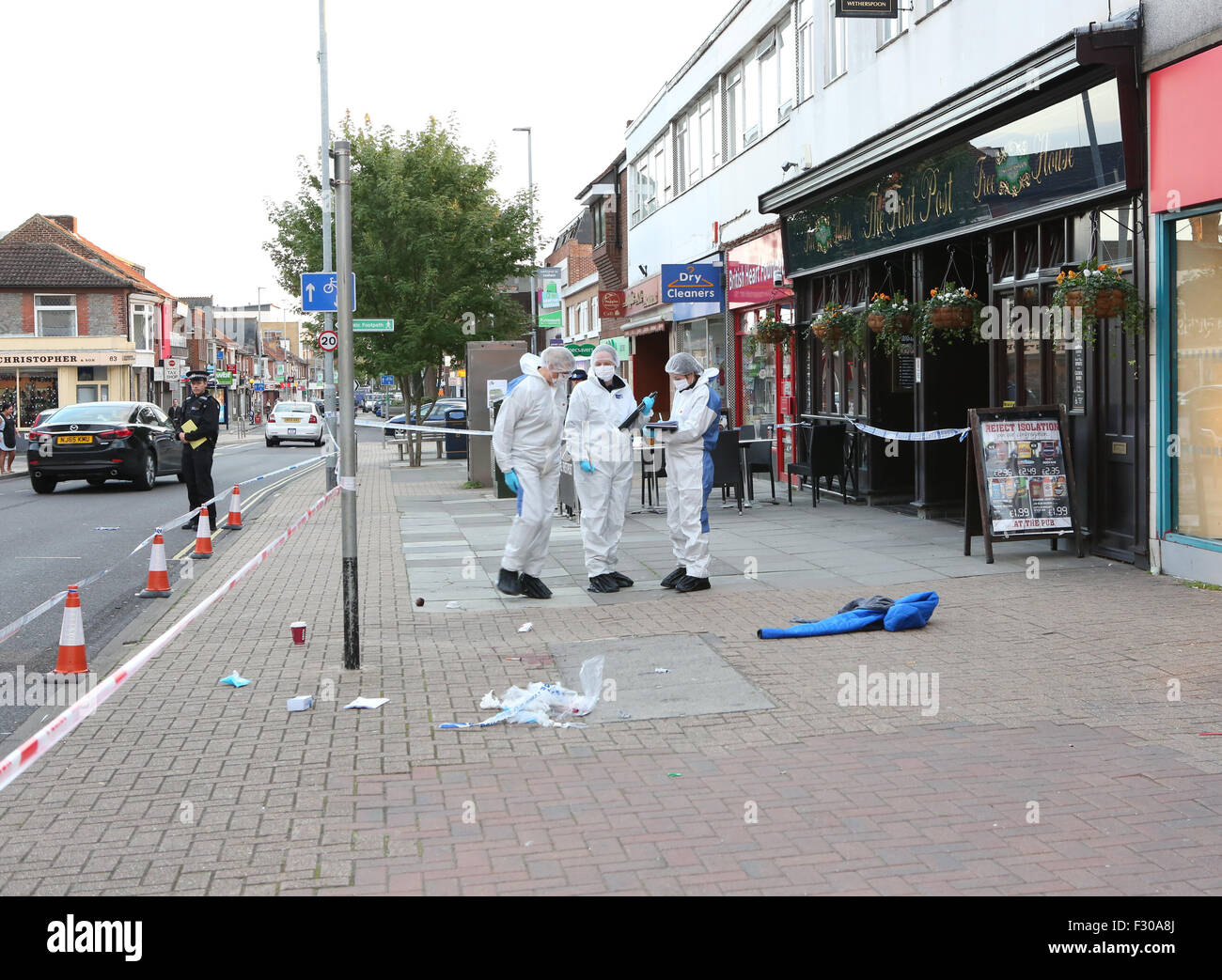 Cosham,Hampshire Saturday 26 September 2015 GV Showing Cosham   High Street An OAP  man was been attacked. Police Stock Photo