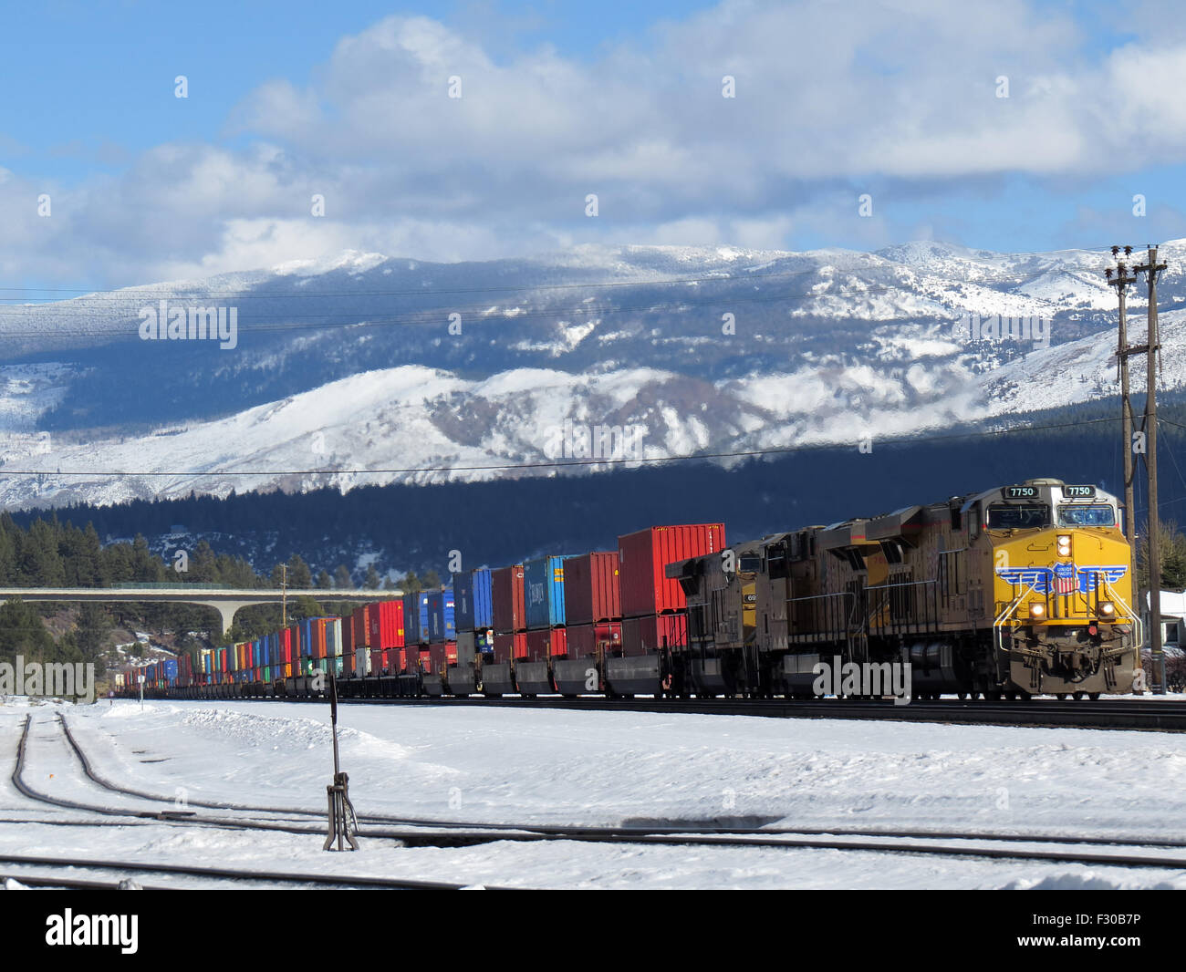 Trains in the Snow in Truckee, California - Stock Image
