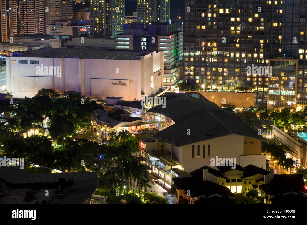 Manila, Philippines - Sept 25, 2015 Elevated view of Greenbelt Shopping Center in Makati City, Metro Manila - Philippines. - Stock Image