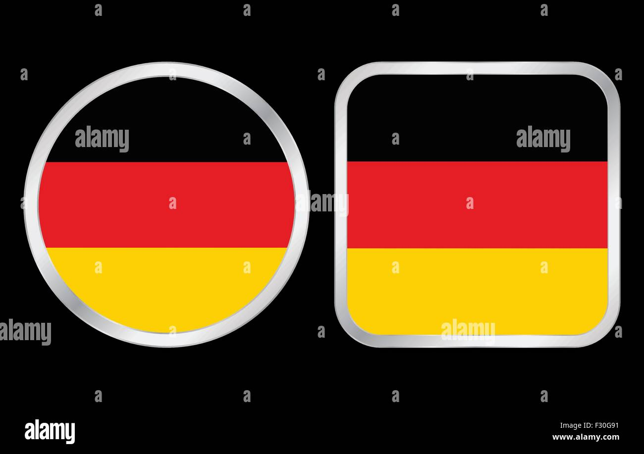 Germany flag - two icon on black background. Vector illustration. - Stock Vector