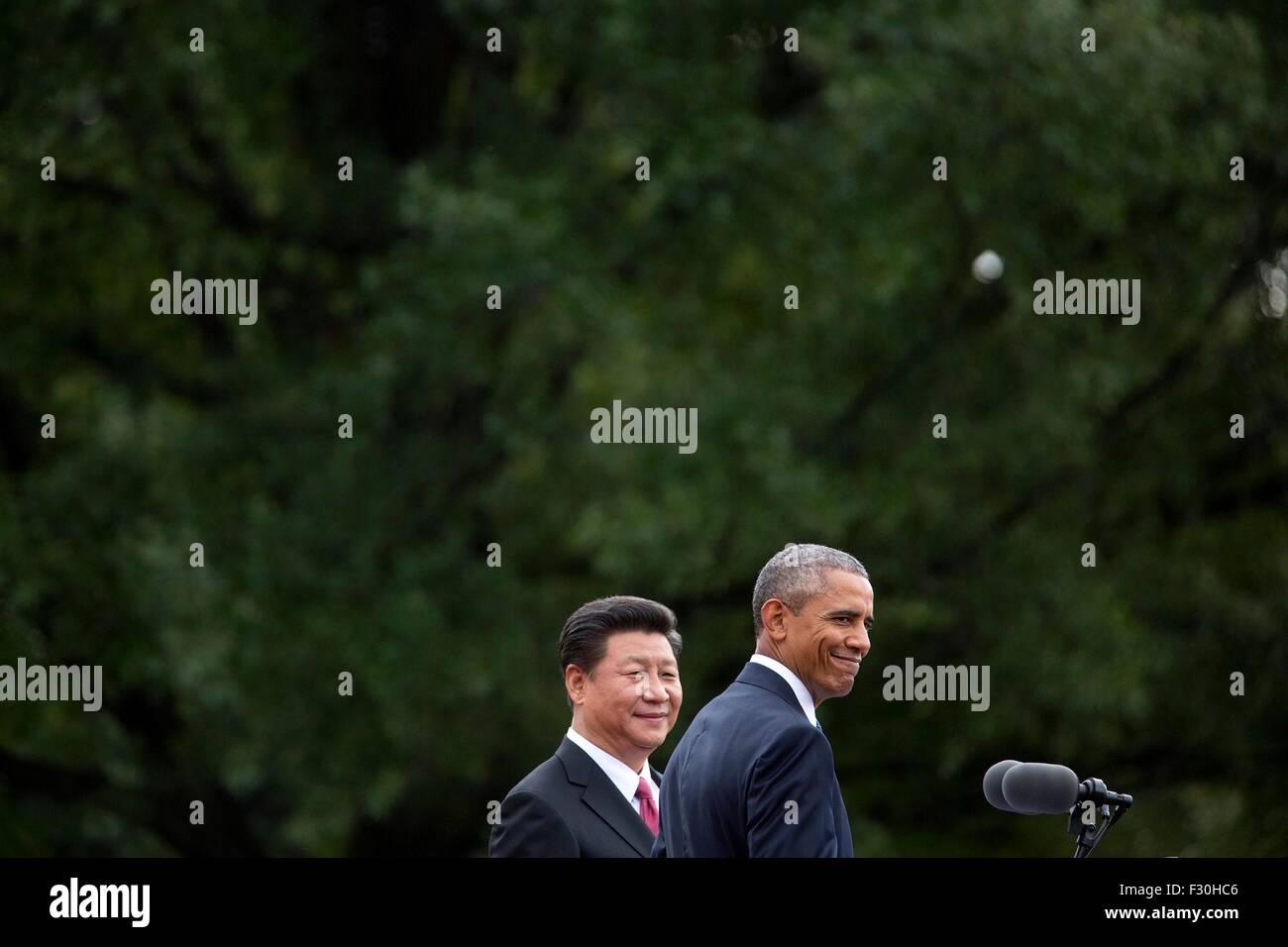 Washington DC, US. 25th Sep, 2015. U.S. President Barack Obama and Chinese President Xi Jinping smile during the - Stock Image