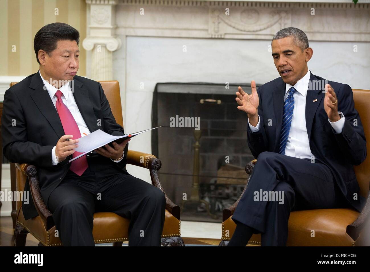Washington DC, US. 25th Sep, 2015. U.S. President Barack Obama and Chinese President Xi Jinping hold a bilateral - Stock Image