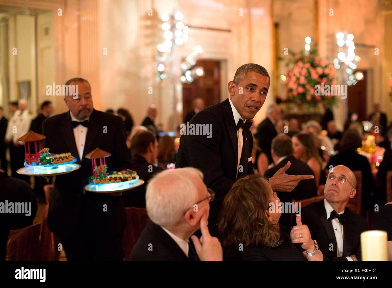Washington DC, US. 25th Sep, 2015. U.S. President Barack Obama talks with guests during the State Dinner for Chinese - Stock Image