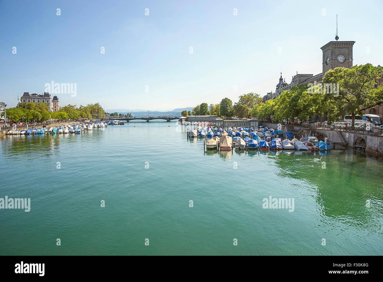 Zurich city center and Limmat quay harbor in summer, Switzerland - Stock Image