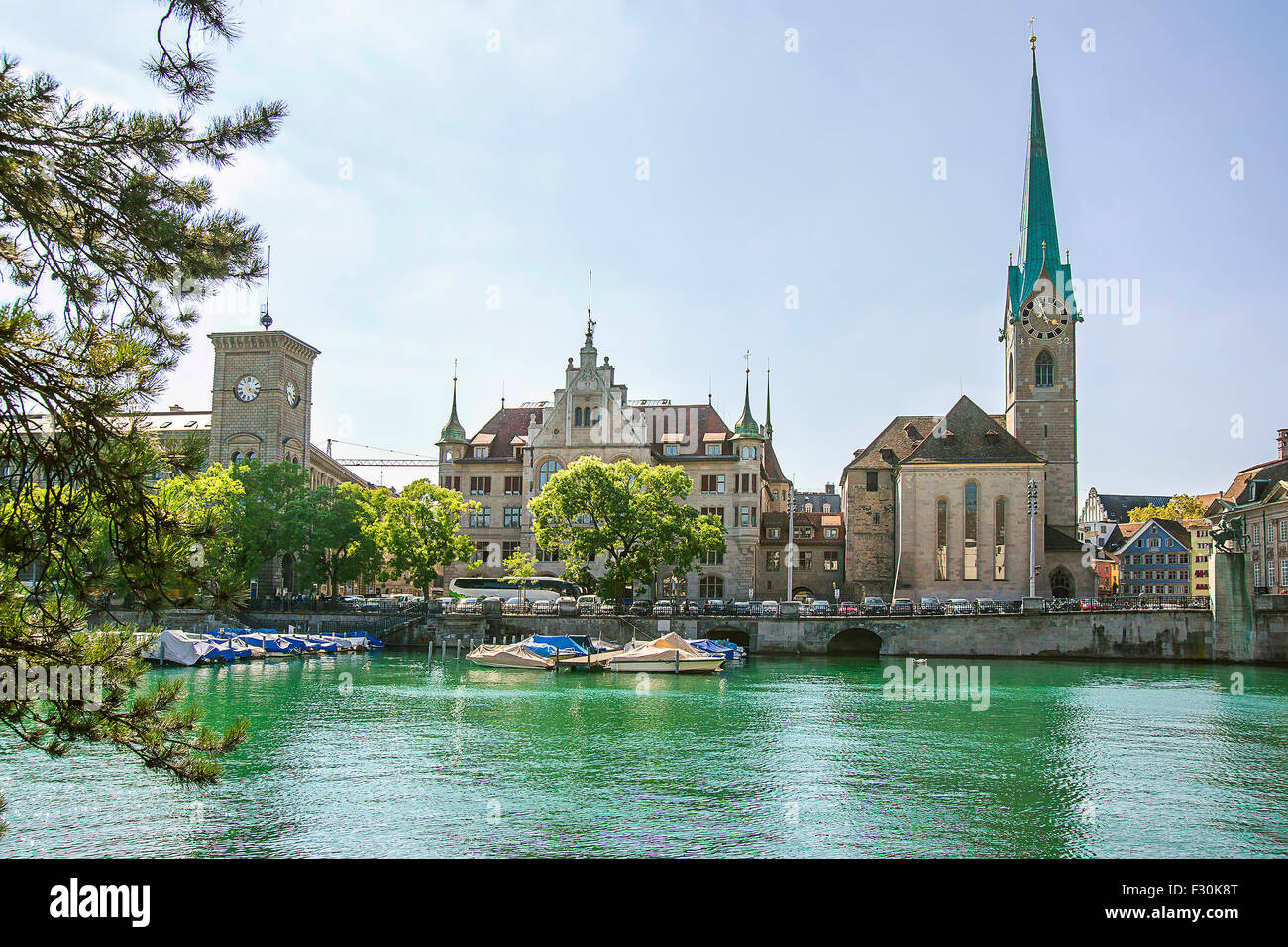 Zurich city center and Fraumunster Cathedral in summer, Switzerland - Stock Image