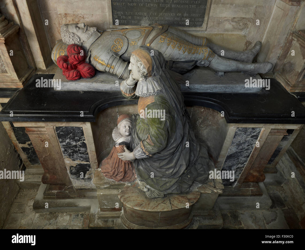 Otterden, Church of St Lawrence, Kent. Monument to Sir Justinian Lewin - Stock Image
