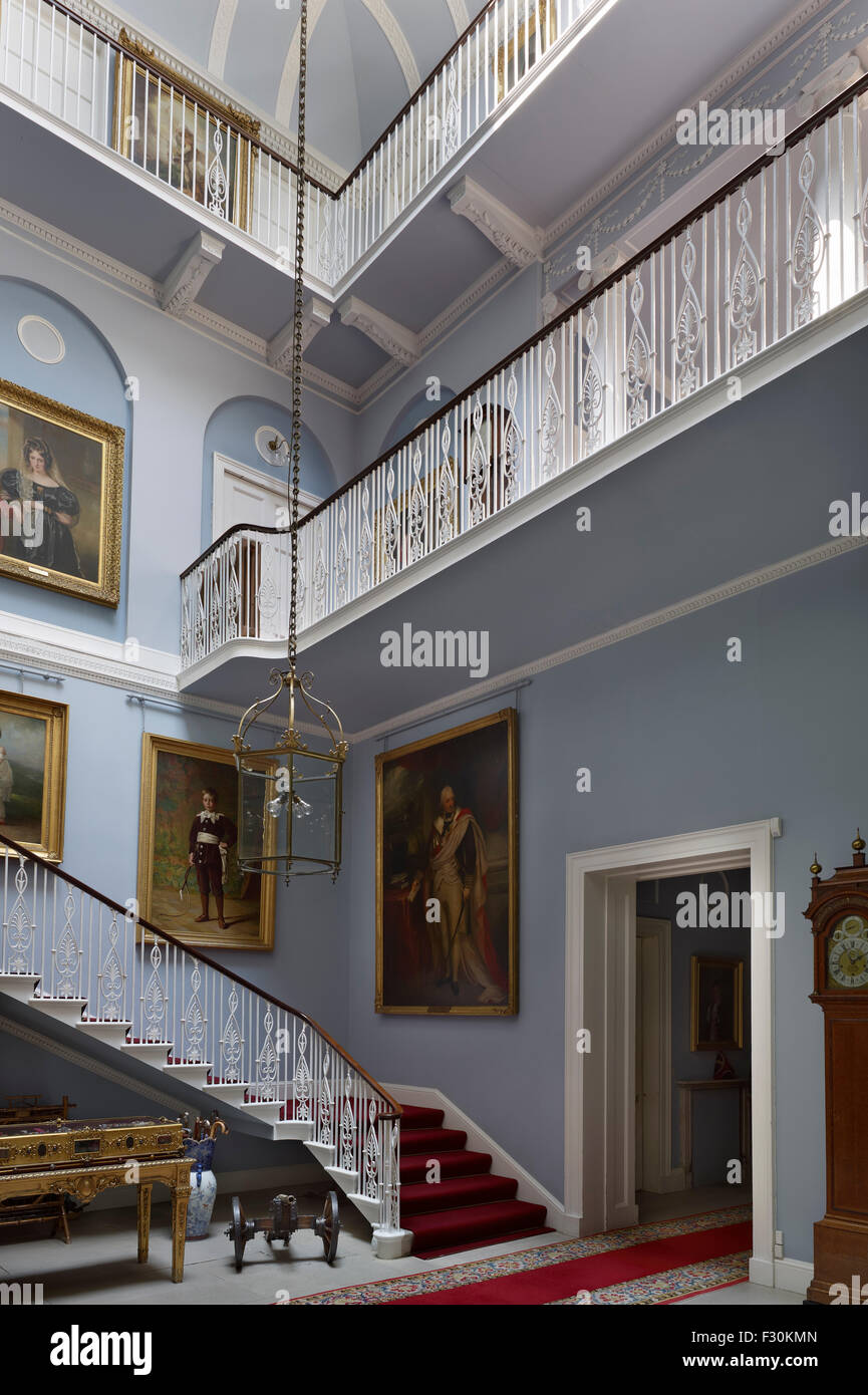 Belmont House, Throwley, Kent. Neoclassical Staircase - Stock Image