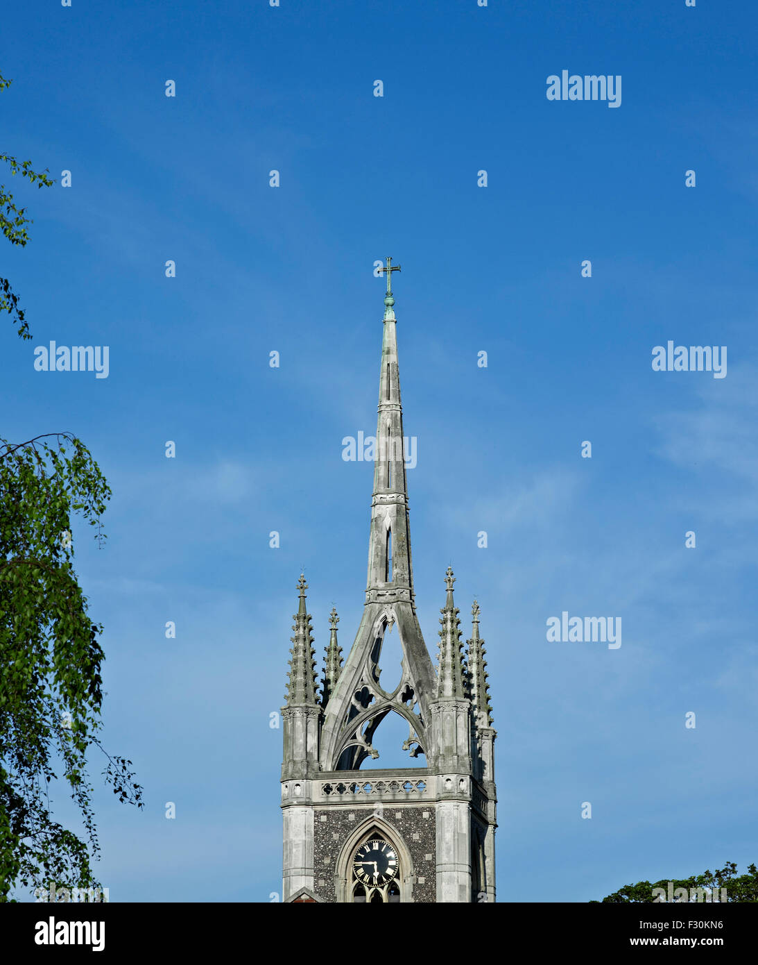 Faversham, Church of St Mary of Charity, Kent. Steeple - Stock Image