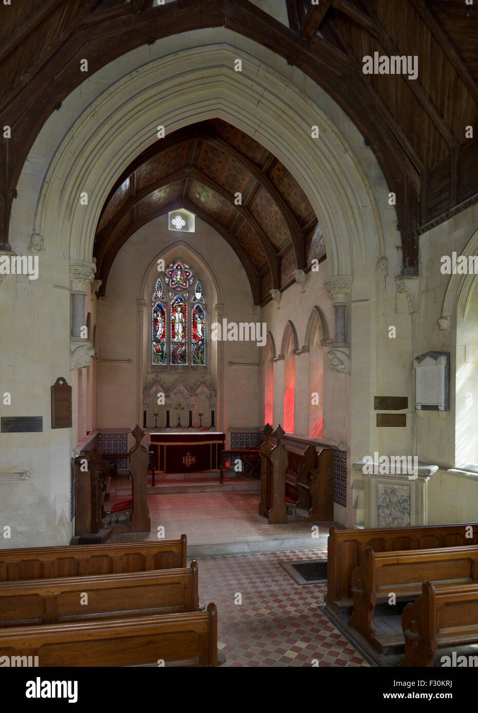 Kingsdown, Church of St Catherine, Kent. By E.W. Pugin - Stock Image
