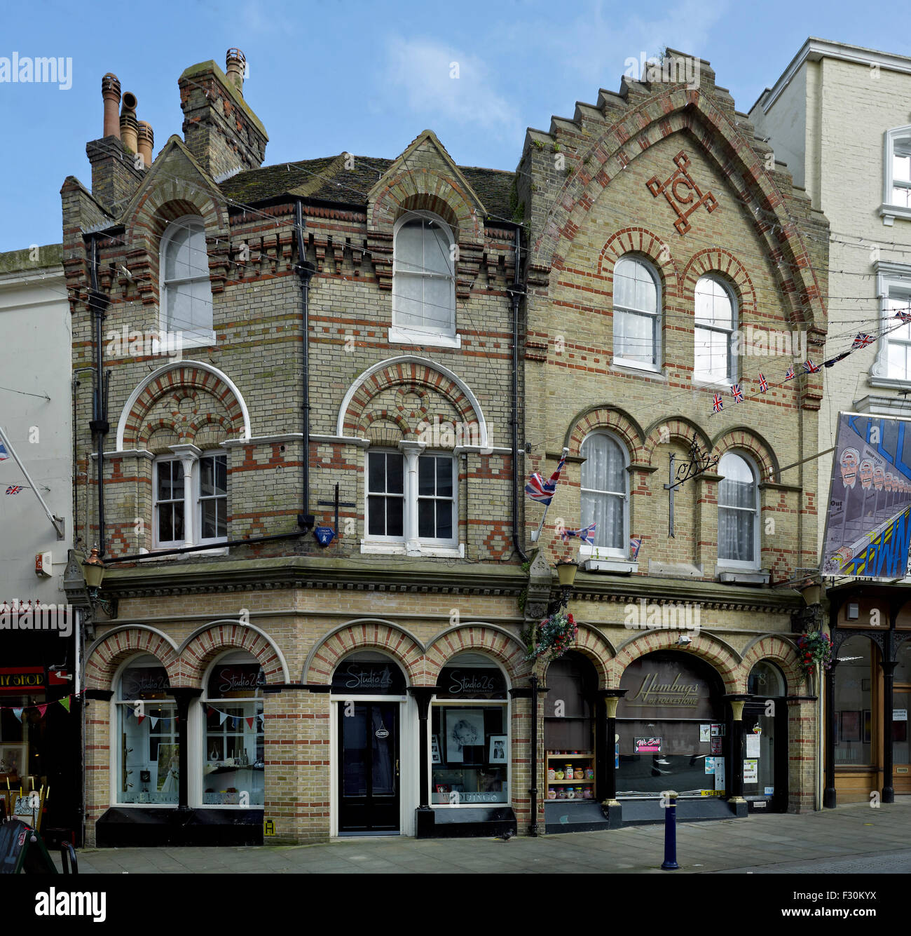Folkestone, Kent. Shops at numbers 8-10 Rendezvous Street - Stock Image