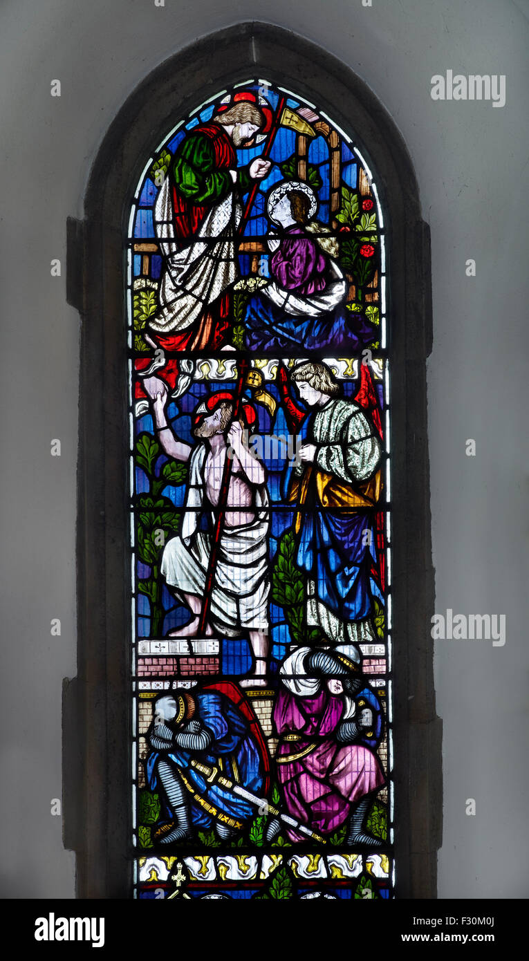Blean, Church of St Cosmas & St Damian, Kent Stained glass window - Stock Image