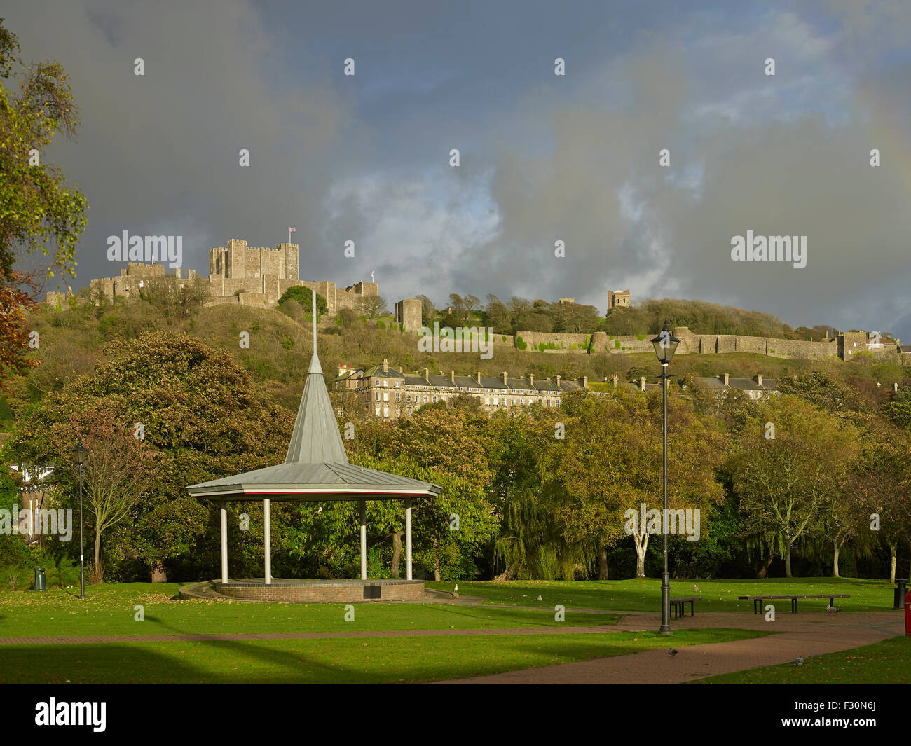 Dover Castle and bandstand, Kent - Stock Image