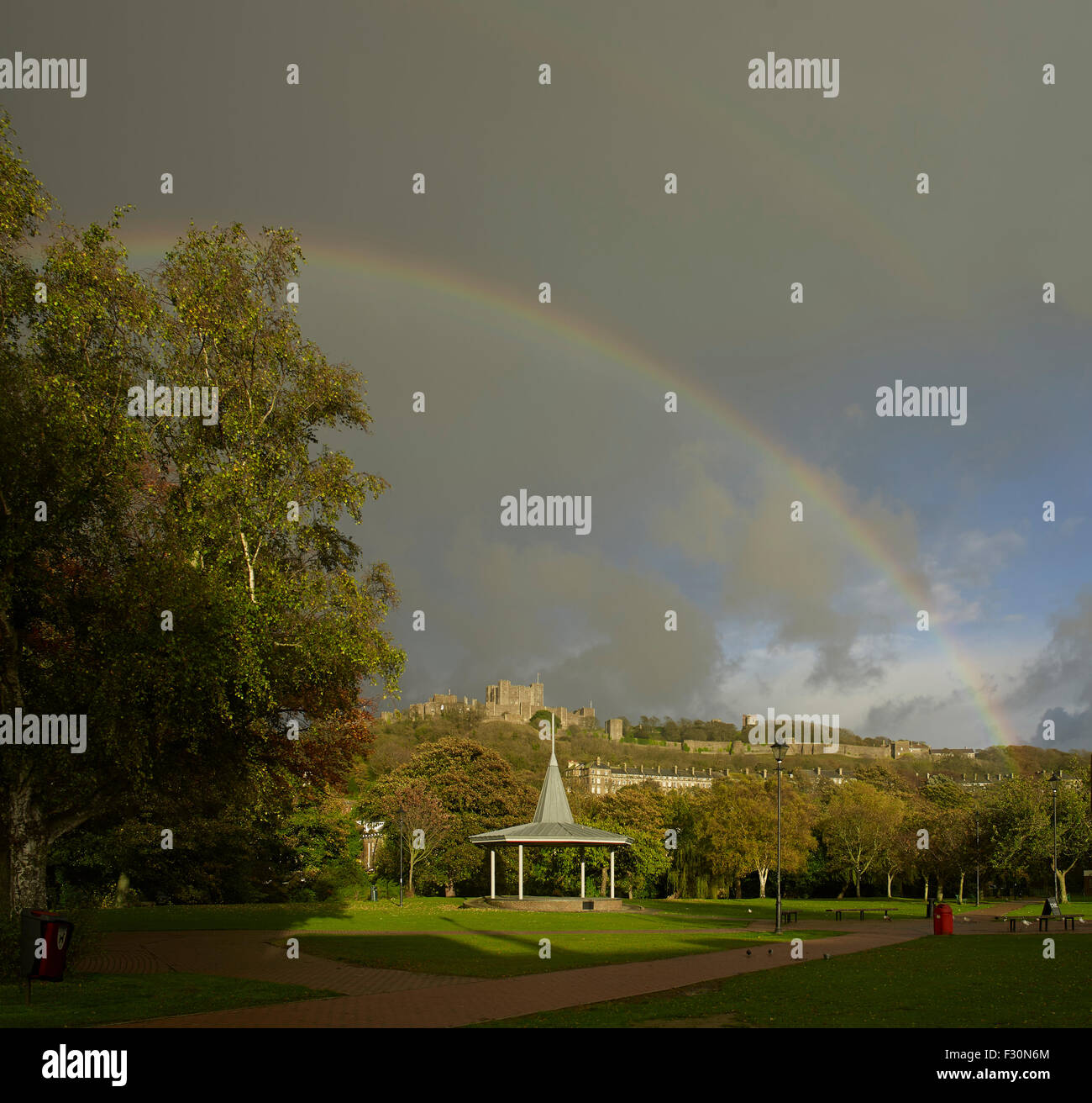 Dover Castle and bandstand, Kent. With rainbow - Stock Image