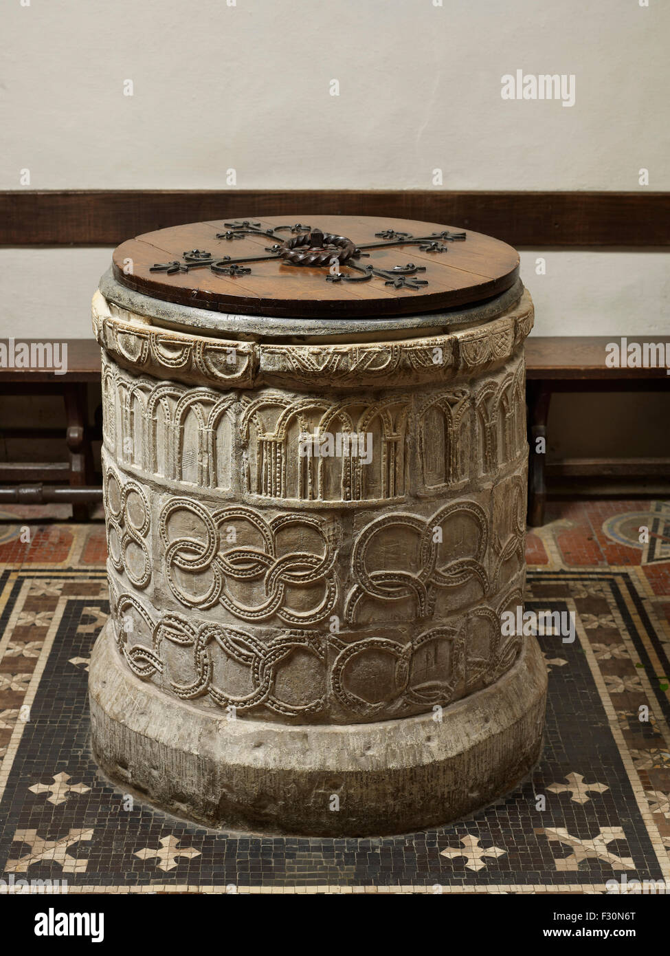 Norman Font at St Martin, Canterbury - Stock Image