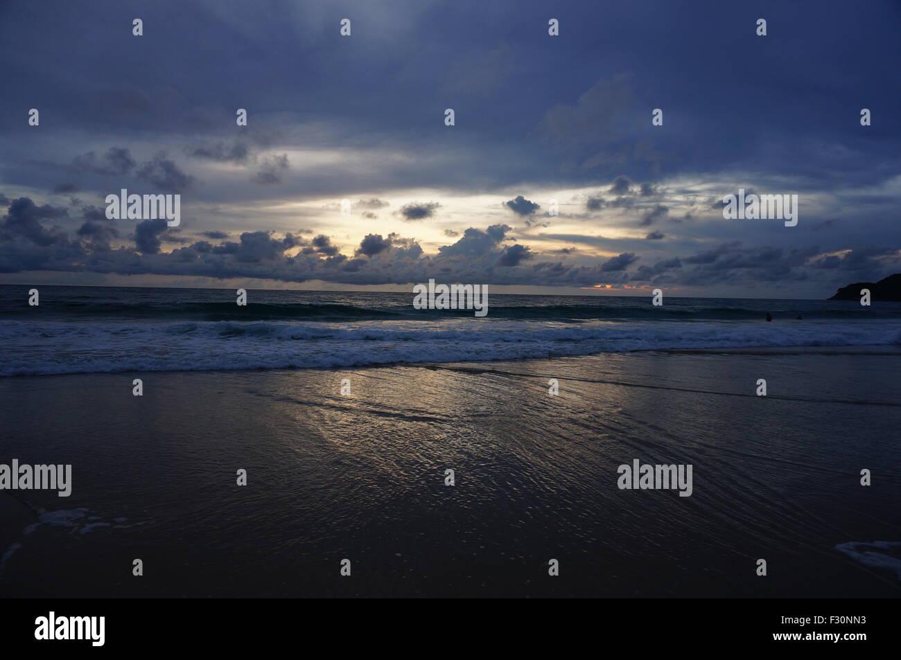 Sunset in Karon beach - Stock Image