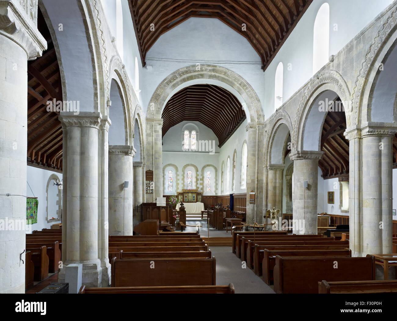 St Martin's at Cliffe. Twelfth century church interior - Stock Image