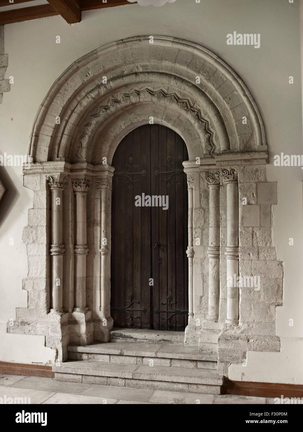 Hythe, St Leonard's, Kent. Norman doorway - Stock Image
