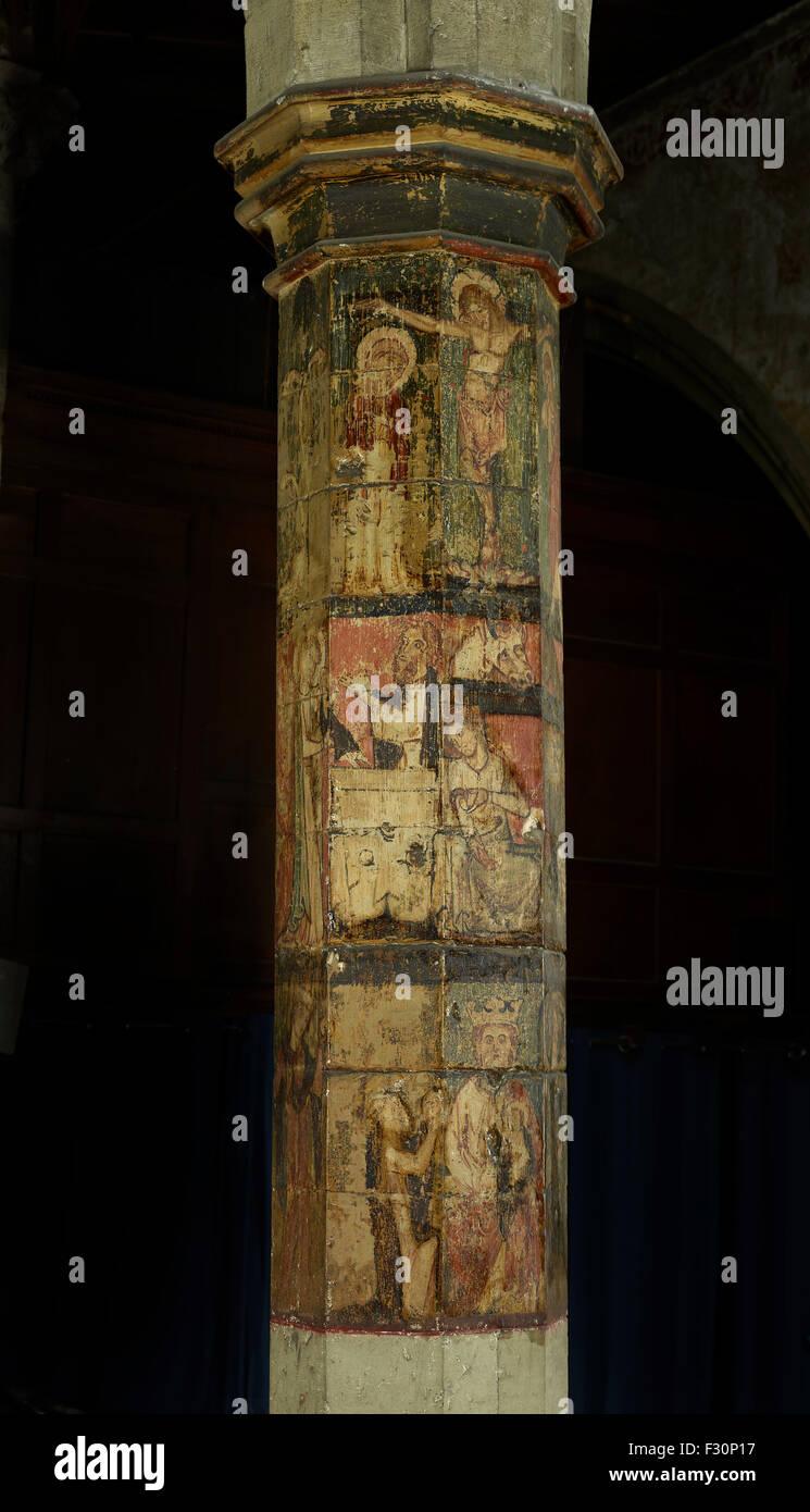 Faversham, St Mary of Charity, Kent. Painted column - Stock Image